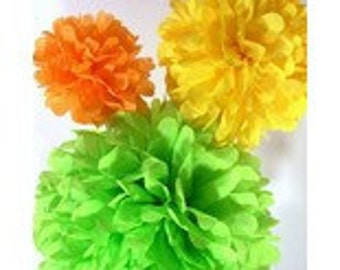 Tissue Paper Pom Poms - 3 Piece - Ships within ONE Business Day - Tissue Poms - PomPom - Tissue Pom Poms - Choose Your Colors!