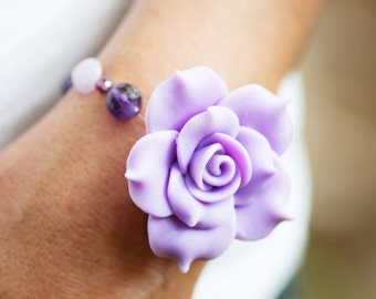 SALE - Amythest Stones and Swarovski Crystals and Purple Flower Bracelet