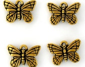 4 TierraCast 22K Gold Plated Lead Free Pewter Monarch Butterfly Charms Made in USA