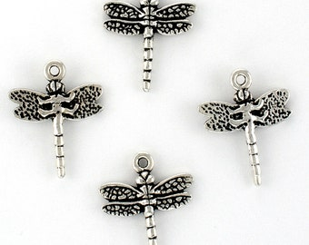 4 TierraCast Sterling Silver Plated Lead Free Pewter Dragonfly Charms Made in USA