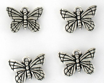 4 TierraCast Sterling Silver Plated Lead Free Pewter Monarch Butterfly Charms Made in USA