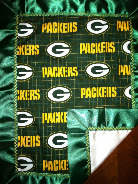 Green Bay Packers Baby Flannel & Satin Snuggle Blanket 14 X 18
