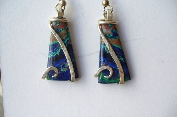 Azurite Malachite Silver Wrap Earrings