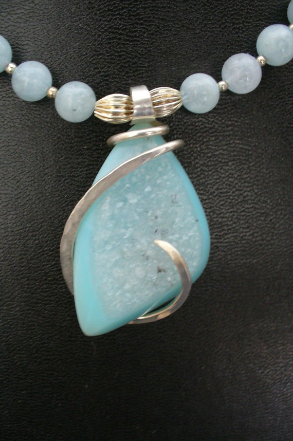 Light Blue Druzy Necklace- Silver Wrapped Pendant with Blue Agate Beads