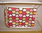 "Medium Curtain Cube Hammock ""Hearts on Brown Print with Tan/Creme Fleece Lining"" Rat, Ferret, Sugar Glider"
