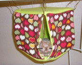 """Small Curtain Cube Hammock """"Hearts on Brown Print with Lime Fleece Lining"""" Rat, Ferret, Sugar Glider"""