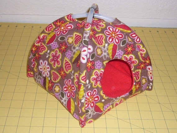 """Dome Tent  """"Flowers on Brown Print with  Red Fleece Lining"""" Rat, Ferret, Hedgehog"""