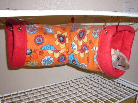 "Small Corner Tube Hammock  ""Orange Crush Print with Red Fleece Lining"" Rat, Ferret, Sugar Glider"