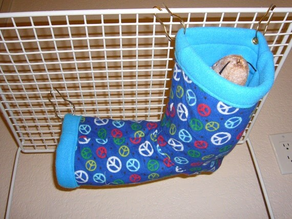 "Small Corner Tube Hammock with access hole ""Peace Dots Print with Blue Fleece Lining"" Rat, Ferret, Sugar Glider"