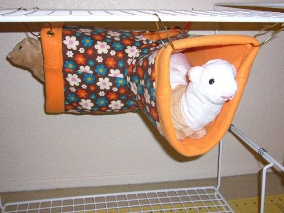 "Large Corner Tube Hammock with access hole ""Flower Field on Brown Print with Orange Fleece Lining"" Rat, Ferret, Sugar Glider"