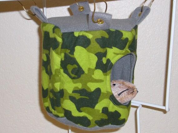 "Small Drum Hammock with access hole ""Green Camo Print with Dark Grey Fleece Lining"" Rat, Ferret, Sugar Glider"