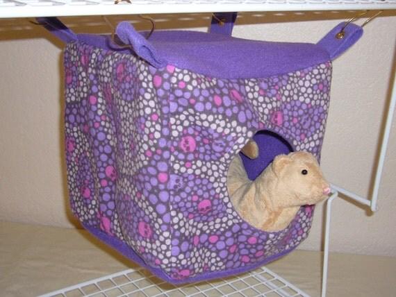 "Medium Cube Hammock ""Peace Skulls Print with Purple Fleece Lining"" Rat, Ferret, Sugar Glider"