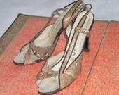Sensational Late 70s Natural Python Slingback Heels Size 5-6