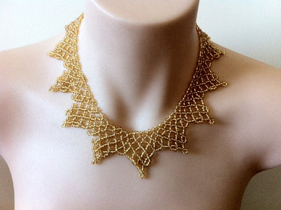"""net beaded """"Isis"""" gold Egyptian style necklace Made to order"""