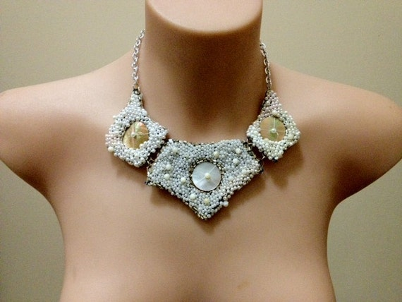 """OOAK """"Snow White"""" seed beaded and mother of pearl bib necklace"""