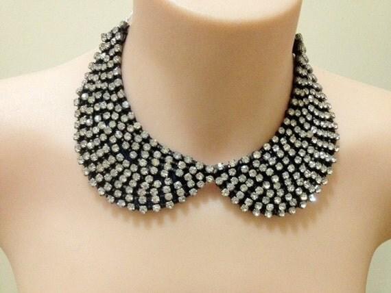 "crystal rhinestone ""Starry starry Night"" peter pan collar necklace"