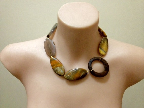 "OOAK ""Mudslide"" Agate earthy tone chunky gemstone necklace"