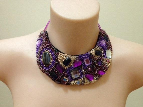 "hand bead embroidered ""Imperial Mosaic"" rhinestone bib"
