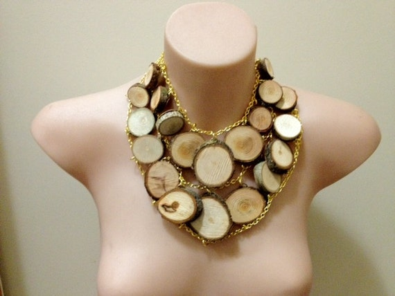 "unique wooden ""Chopping Block"" bib super-statement necklace"