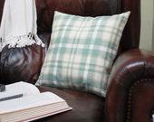 Plaid Decorative Toss Pillow in Beach Glass - 16 x 16