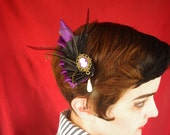 Little Purple double-pleated ribbon wing with small antique-gold cameo hair fascinator. Bridesmaid, Cocktail party, Lolita.