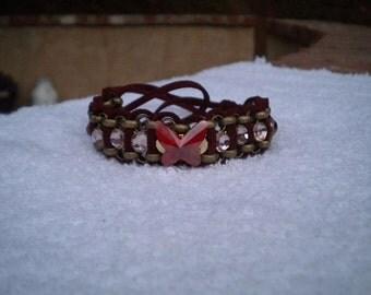 Leather Wrap Swarovski Bracelet Butterfly