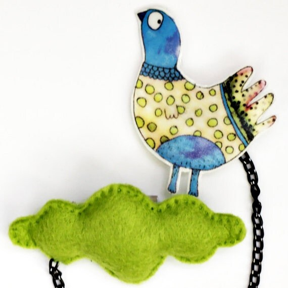 34. Handmade two part felt brooch - pin / personage pin / original illustration pin / pigeon and a cloud / green cloud