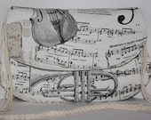 black white musical note and instruments print ,cotton,high quality,daily large clutch bag (with optional handle)/shoulder bag/