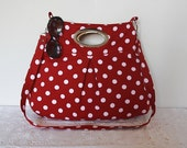 polka dot large pleated diaper bag/metal handle purse /messenger bag/cherry red white shoulder bag/metal purse/polka dot bag