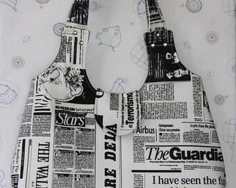 black white newspaper printed large hobo bag/newspaper shoulder bag/black white large hobo bag/newspaper printed purse/