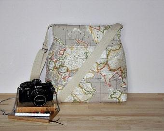 World Map Prints Large Diaper Bag/  Beige Tote Bag/Messenger Bag/ Shoulder Bag/Everyday Purse