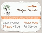 WORDPRESS Website. 3 pages plus Blog. Custom. One of a kind (OOAK) Wordpress Theme. Includes install & training.