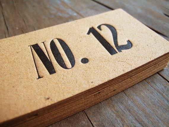 Letterpress table number set