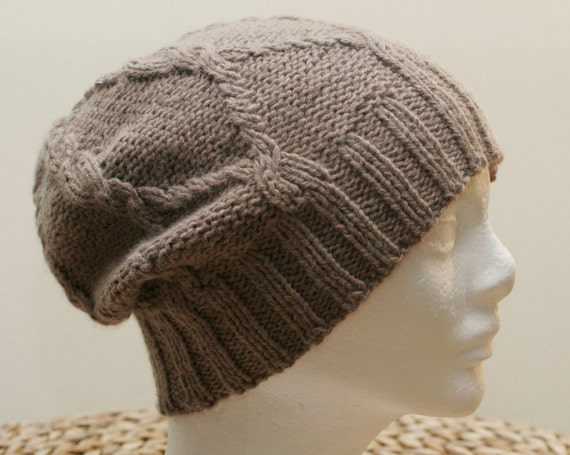 Mens, womens hand knit, thick ,brown,  cashmere,  warm ,soft beanie hat .