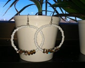"""Pearly White Beaded Hoop Earrings with Glass Swirl Beads: """"Light As Air"""""""