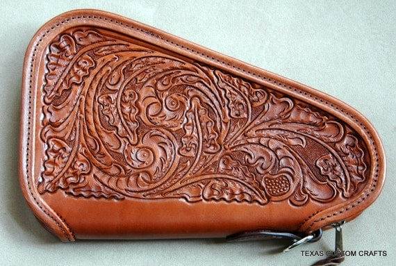Leather Pistol Case With Hand Tooled Western Floral Pattern