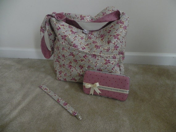 Diaper Bag Flower print/pink, gray and beige plus wipe case- RESERVED