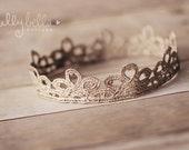 RTS Gorgeous Champagne Vintage Lace Crown