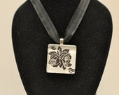 Black and White Floral Glass Tile Pendant (No. 120)
