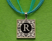 Ready to ship. Black and White Damask Initial Necklace (No. 800)