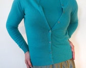 Cashmere Cardigan Sweater Twin Set - Authentic mid-century Teal Green  - Heavenly, soft, plush