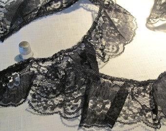 """Vintage Black Lace Trim - Notions, Accessories - Antique Lace 111"""" x 2.5"""""""