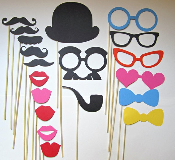 Photo Props - 19 Piece Perfect Birthdays, Weddings, Parties - Photobooth Props