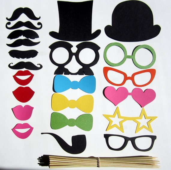 Photo Booth Props - 22 Piece - DIY Kit