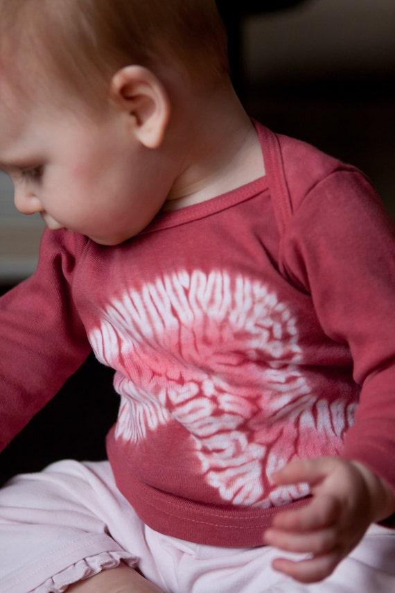 Unique Shibori Dyed Short Sleeve Infant Tee-Shirt - Pink Bi-Color - 12-18 month