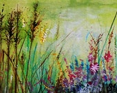 Original Watercolour Flower Garden pond Painting ACEO card ( not a print ) green, purple, pink, white, yellow.  Artist Sarah E