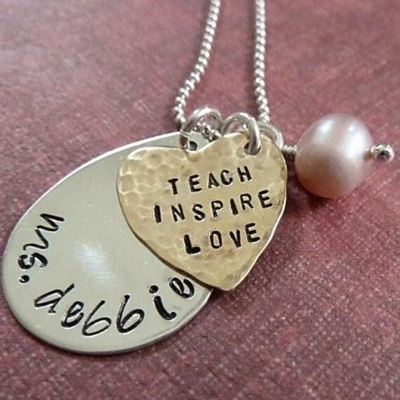 Teach Inspire Love Handstamped Necklace for Teacher Nanny Babysitter Daycare Provider