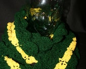 Long Hand Knitted Green and Yellow Scarf