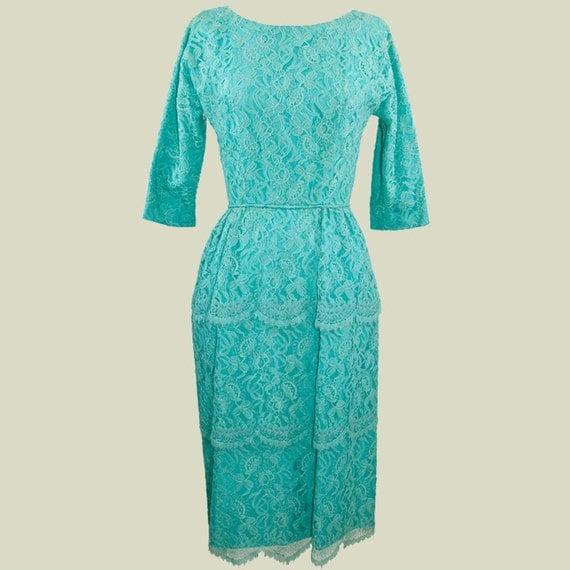 Seductive 1950s-1960s Teal Lace Cocktail Dress