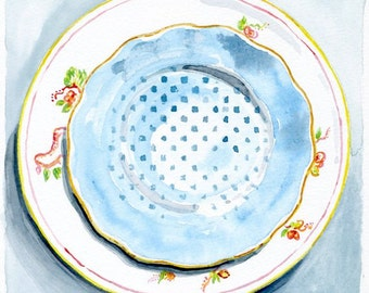 Still Life Kitchen Decor of Original Watercolor Painting -- Vintage Plates blue 3